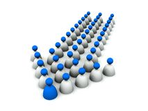 3D Group of people forming an arrow. 3D rendered image of a group of people being led by a leader Stock Photo