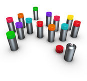 3d group of spray-cans different colors on white Royalty Free Stock Photography