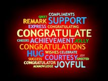 3d grow congratulation's word-cloud Royalty Free Stock Images