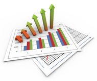 3d growing arrows. 3d render of growing arrows on business charts Stock Photography
