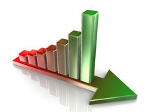 3d growth concept. 3d Illustration of progress bars on growing arrow Stock Images
