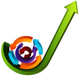 3D Growth Process Arrows Royalty Free Stock Photography