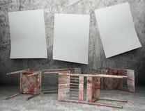 3d grunge houten stoelen met lege affiches Stock Illustratie