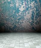 3d grunge interior, blue rusty wall Royalty Free Stock Photo