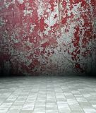 3d grunge interior, red rusty wall Royalty Free Stock Photo