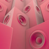 3d grupperade pink framför det slappa sound systemet stock illustrationer