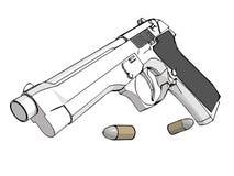 3D gun. Isolated 3D gun with ammunitions (+ vector eps format stock illustration
