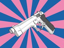 3D gun. With retro background (vector eps format stock illustration