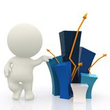 3D guy with a bar graph Royalty Free Stock Image