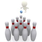 3D guy bowling Stock Photos