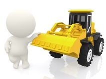 3D guy with a bulldozer Royalty Free Stock Images