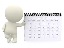 3D guy with a calendar Royalty Free Stock Photos
