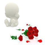 3D guy crying over roses Royalty Free Stock Images