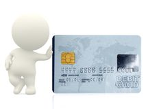 3D guy with a debit card Royalty Free Stock Photo