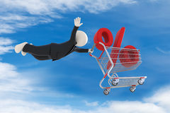 3d guy flying with shopping cart and percent sign Royalty Free Stock Photos