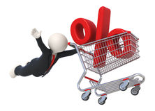 3d guy flying with shopping cart and percent sign Stock Images