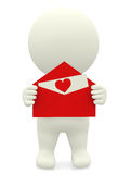 3D guy with love letter Royalty Free Stock Image