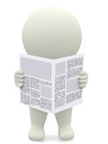 3D guy reading a newspaper Royalty Free Stock Image