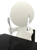 3D guy ready to eat Stock Photography
