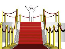 3D guy at the red carpet. Rendering of a generic 3d person at the red carpet Royalty Free Stock Photos