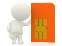 3D guy with a sim card Stock Photo