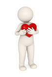 3d guy snuggling a big heart. 3d melancholic guy snuggling a red heart - Isolated Royalty Free Stock Image