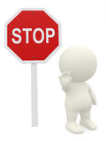 3D guy with a stop sign Royalty Free Stock Photography