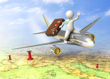 3d guy traveling by plane Royalty Free Stock Photo