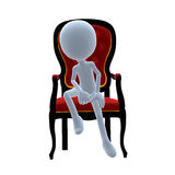 3D Guy Wtih A Chair Stock Photo