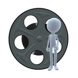 3D Guy Wtih A Movie Reel Royalty Free Stock Image