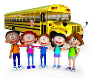 3D guys going to school Stock Images