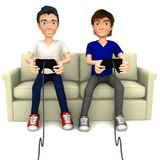 3D guys playing video games Royalty Free Stock Images