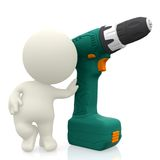 3D guys with screwdriver Stock Photography