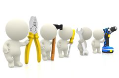 3D guys with tools Royalty Free Stock Image