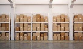 3d ha reso il magazzino con molte caselle impilate sui pallet Fotografie Stock Libere da Diritti