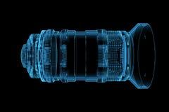 3D ha reso l'obiettivo trasparente blu dei raggi X Fotografia Stock Libera da Diritti