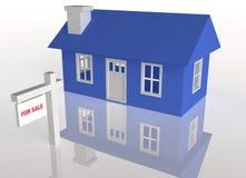 3D ha reso la casa blu con il segno di realator royalty illustrazione gratis