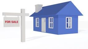 3D ha reso la vendita blu di housefor illustrazione vettoriale