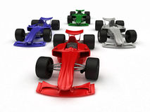 3D ha reso le automobili di formula di concetto Fotografia Stock Libera da Diritti