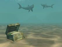 3d haaien die boven een doos met schatten drijven Stock Afbeeldingen