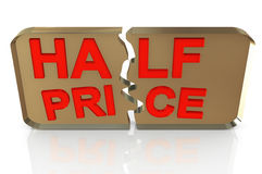 3d half price. 3d render of half price - sales promotion Royalty Free Stock Image