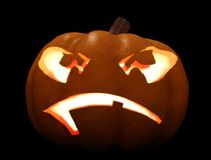 3D Halloween Carved Pumpkin Night Stock Photos