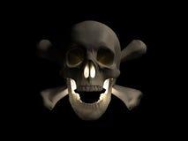 3d halloween framför den läskiga skallen Arkivbilder