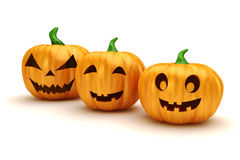 3d Halloween pumpkins Royalty Free Stock Photos