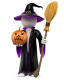 3D halloween white people. Witch with a pumpkin Royalty Free Stock Photos