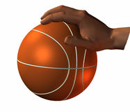 3d hand with basket ball Stock Photo