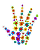 3d hand of colorful flowers Stock Image