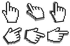 3D hand cursor. Hand cursor with 3D effect in six different view angles