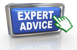 3d hand cursor expert advice. 3d render of hand cursor and button with phrase expert advice Royalty Free Stock Photo