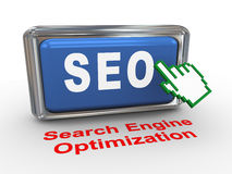 3d hand cursor and seo button Royalty Free Stock Image